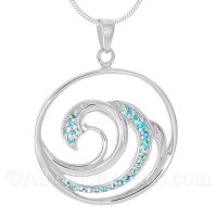 Sterling Silver Multi Wave Pendant with Blue CZ Crystals