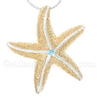 Sterling Silver Starfish Pendant with Two Tone Gold Vermeil / Topaz
