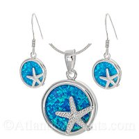 Sterling Silver Starfish Circle Pendant and Earrings with Opal Inlay
