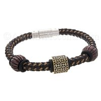 Mens Jewelry by AAGAARD Brown Braided Charm Bracelet / Bead Set - 9