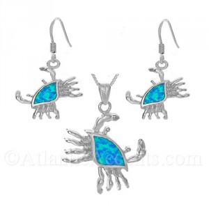 Sterling Silver Crab with Blue Opal Inlay Pendant and Earrings Set
