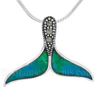 Sterling Silver Whale Tail Pendant with Blue Green Enamel & Crystals
