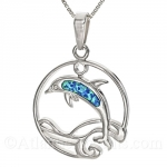 Sterling Silver Dolphin In Waves Circle Pendant