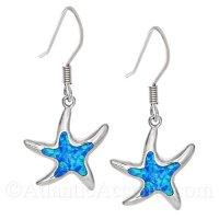 Sterling Silver Dancing Starfish Dangle Earrings with Opal Inlay