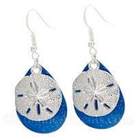 Sand Dollar Charm on a Blue Sparkle Fishing Lure Dangle Earrings