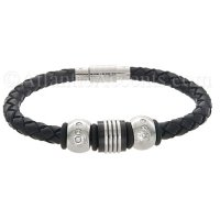 Mens Jewelry by AAGAARD Black Leather Charm Bracelet / Bead Set - 21