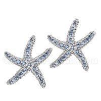 Sterling Silver Starfish Post Earrings with Blue CZ Inlay