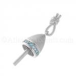 Sterling Silver Buoy Pendant with Ocean Blue CZ and Rope Bale