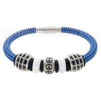 Mens Jewelry by AAGAARD Blue Nylon Bracelet / Peace Link Set - 37