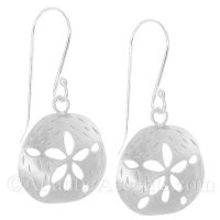 Sterling Silver Sand Dollar Dangle Earrings With Matte Finish