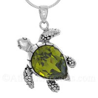 Sterling Silver Sea Turtle Pendant with Green Swarovski Crystal Body
