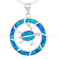 Sterling Silver Circular Sea Turtle Dangle Pendant with Opal Inlay