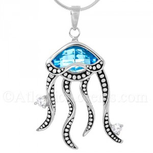 Sterling Silver Jelly Fish Pendant with Ocean Blue Swarovski Crystal