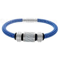 Mens Jewelry by AAGAARD Blue and Silver Charm Bracelet / Bead Set - 17