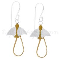 Sterling Silver Stingray 2-Tone Dangle Earrings