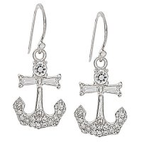 Sterling Silver Anchor Post Earrings with CZ Inlay