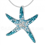 Sterling Silver Starfish Pendant with Gradient Blue Swarovski Crystals