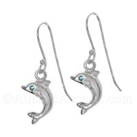Sterling Silver Dolphin Dangle Earrings with Blue CZ Eye