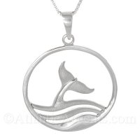 Sterling Silver Whale Tail in Waves Circular Pendant