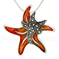 Sterling Silver Double Starfish Pendant with Orange Enamel & Crystals