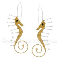 Sterling Silver Two Tone Gold Plated Sea Horse Dangle Earrings