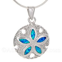 Sterling Silver Sand Dollar Pendant with Opal Inlay