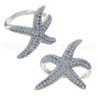 Sterling Silver Starfish Ring with Blue CZ Inlay