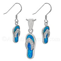 Sterling Silver Flip Flop Pendant and Earrings Set with Opal Inlay