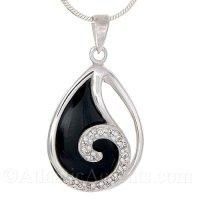Sterling Silver Wave Pendant on Black Onyx Stone and Clear CZ