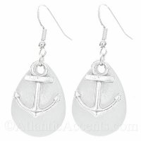 Anchor Charm on a White Sparkle Fishing Lure Dangle Earrings