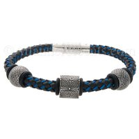 Mens Jewelry by AAGAARD Black Blue Braided Bracelet / Link Set - 38