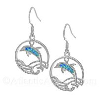 Sterling Silver Dolphin In Waves Circle Dangle Earrings w Opal Inlay