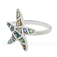 Sterling Silver Starfish Ring with Abalone Inlay