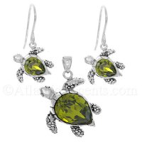Sterling Silver Green Swarovski Sea Turtle Necklace & Earrings Set