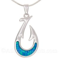 Sterling Silver Fish Hook Pendant with Opal Inlay