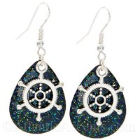Ships Wheel Charm on a Black Sparkle Fishing Lure Dangle Earrings