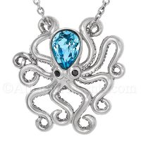 Sterling Silver Octopus Necklace - Blue Swarovski - Adjustable Length