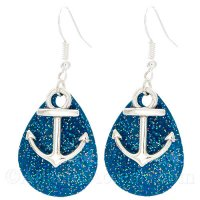 Anchor Charm on a Blue Sparkle Fishing Lure Dangle Earrings
