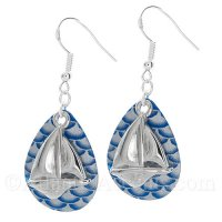 Sailboat Charm on a Blue & Gray Scale Fishing Lure Dangle Earrings