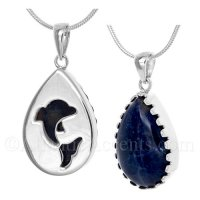 Sterling Silver Dolphin Pendant Cut Out Over a Sodalite Gemstone