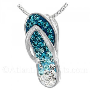 Sterling Silver Flip Flop Pendant with Blue Swarovski Crystals