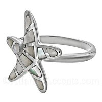 Sterling Silver Starfish Ring with Mother of Pearl Inlay