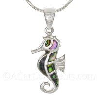 Sterling Silver Sea Horse Pendant with Abalone Inlay