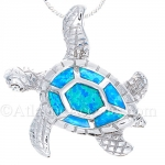 Sterling Silver Sea Turtle Pendant with Synthetic Opal