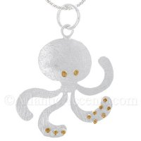Sterling Silver Octopus Pendant With Gold Accents