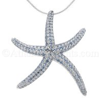 Sterling Silver Starfish Slide Pendant with Blue CZ Inlay