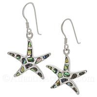 Sterling Silver Starfish Dangle Earrings With Abalone Lnlay