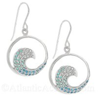 Sterling Silver Wave Dangle Earrings With Graduated Blue Crystal Inlay