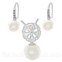 Sterling Silver Sand Dollar Necklace with Pearl and Earrings Set