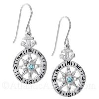 Sterling Silver Compass Rose with Anchor and Blue CZ Dangle Earrings